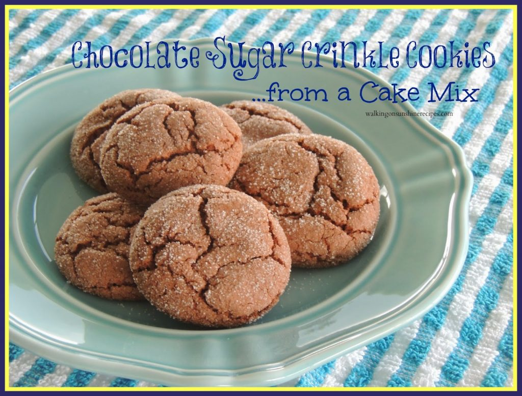 Chocolate Sugar Crinkle Cookies from a Cake Mix from Walking on Sunshine.
