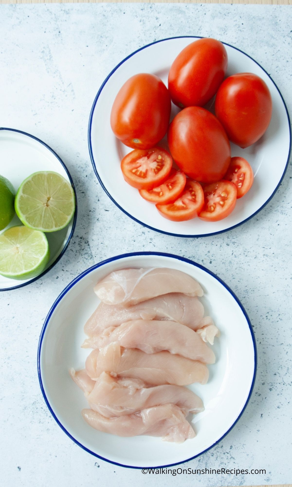 Chicken, tomatoes, Lime Ingredients.