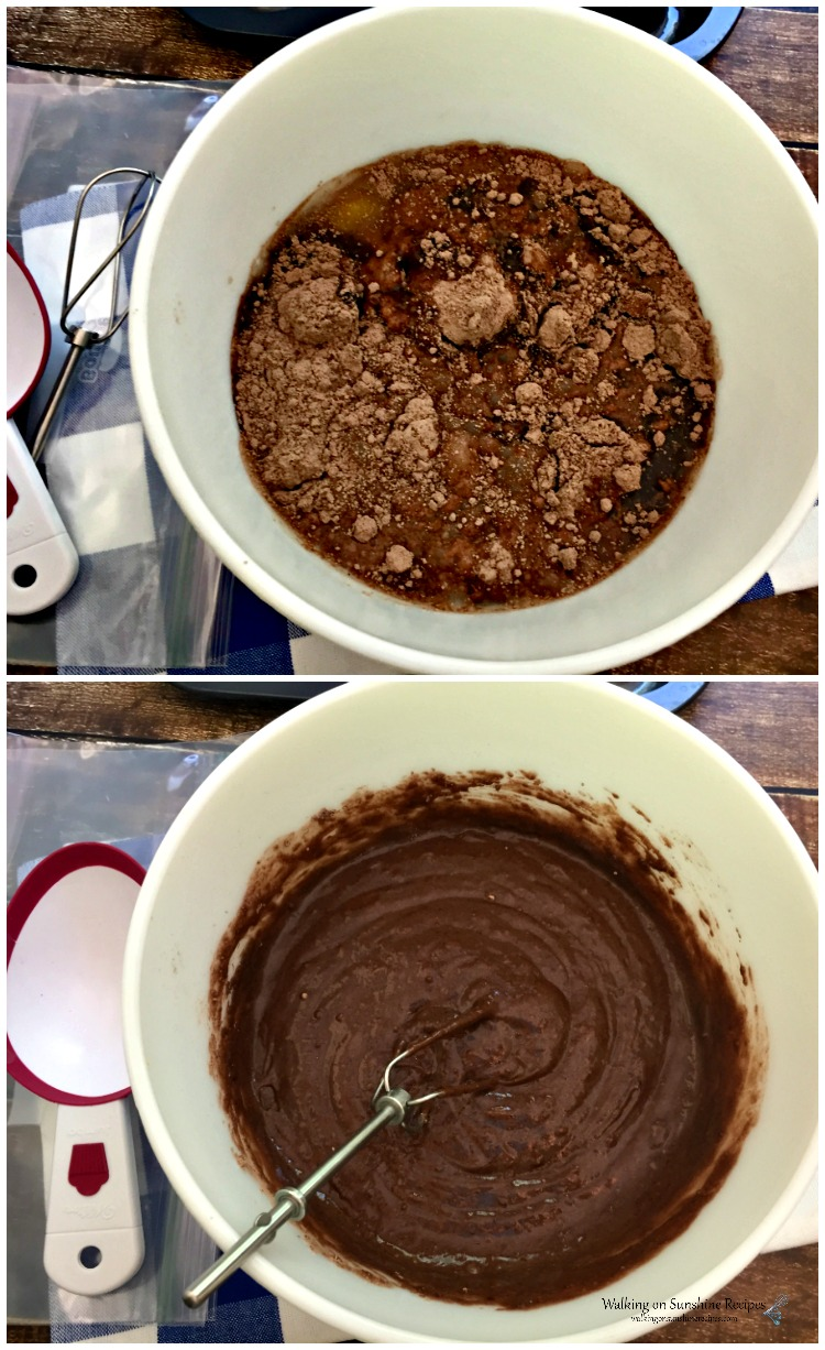Chocolate Donut Mixture in bowls ready for donut pan