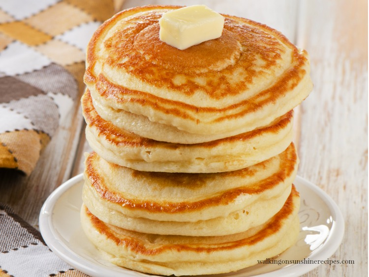 Stack of Homemade Pancakes with Butter from Walking on Sunshine Recipes