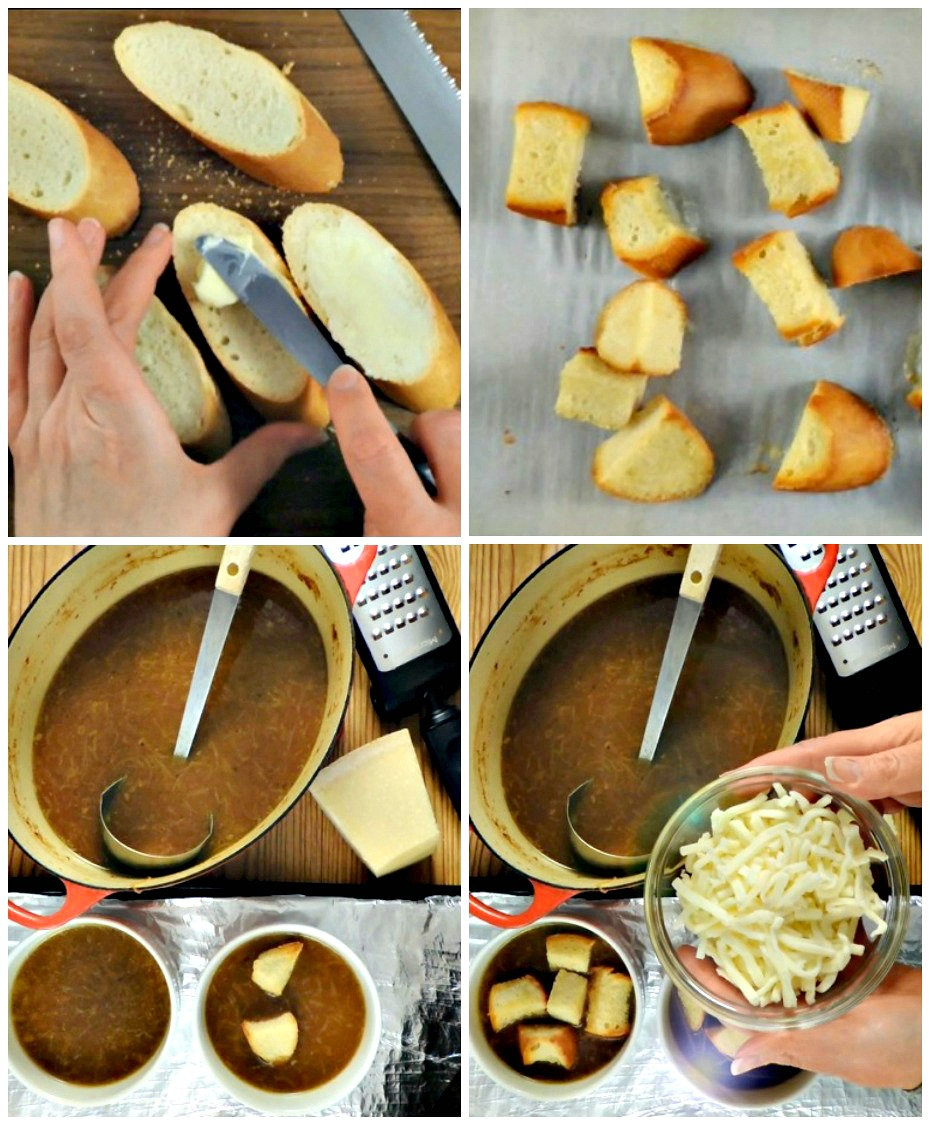 How to make homemade croutons for homemade French onion soup.