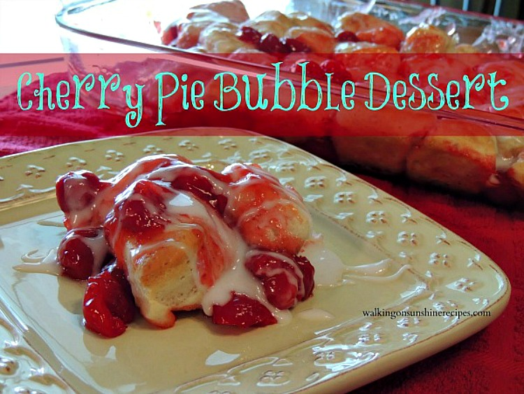 An easy and delicious cherry pie bubble up dessert or breakfast recipe that uses canned biscuits and cherry pie filling from Walking on Sunshine Recipes.
