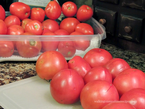 Place an X in the bottom of each Tomato before boiling from Walking on Sunshine