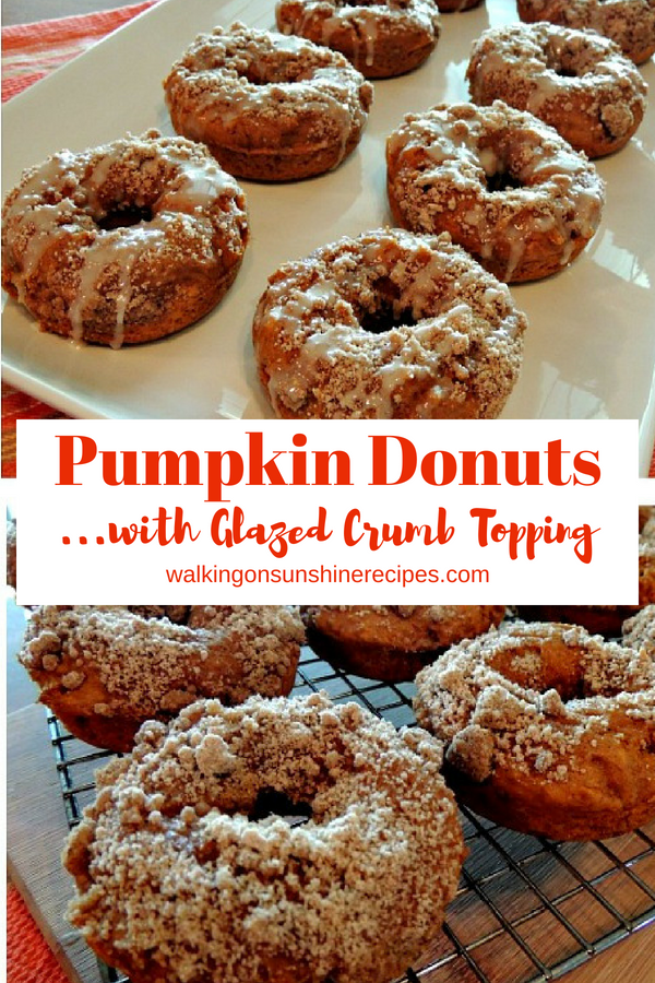 Pumpkin Glazed Donuts with crumb topping.
