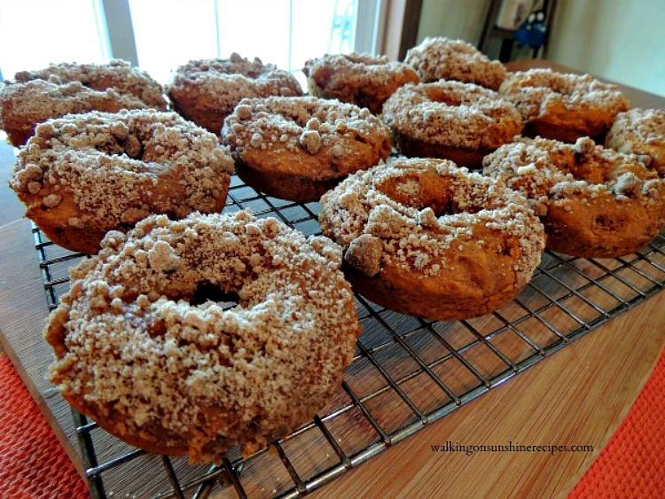 Pumpkin Glazed Donuts With Crumb Topping Walking On