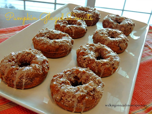 Pumpkin Glazed Donuts from Walking on Sunshine Recipes.