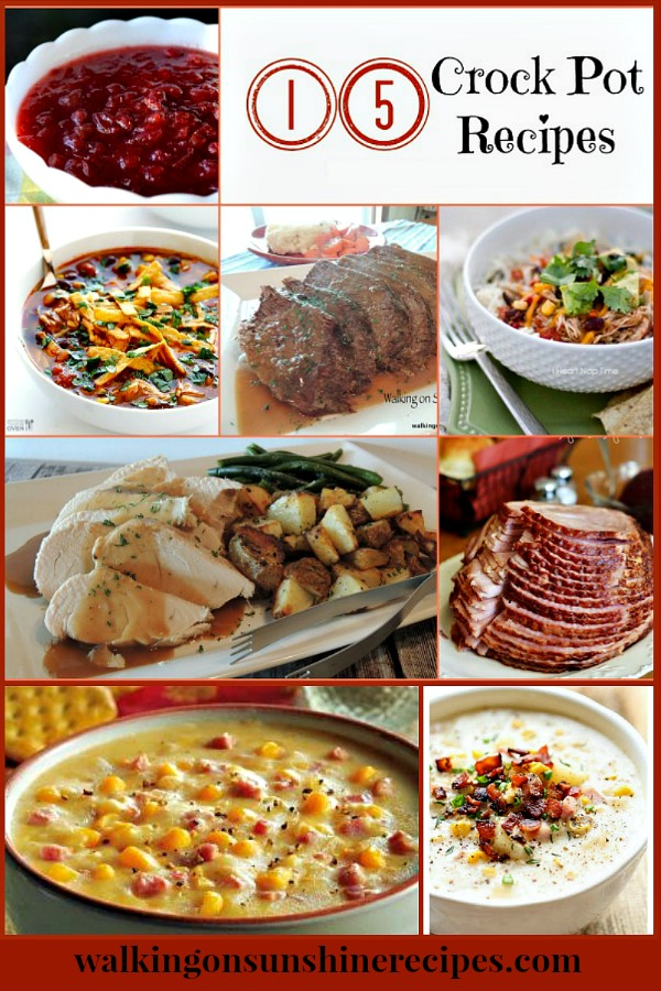 15 Crock Pot Recipes to make for dinner this week for your family featured on Walking on Sunshine.