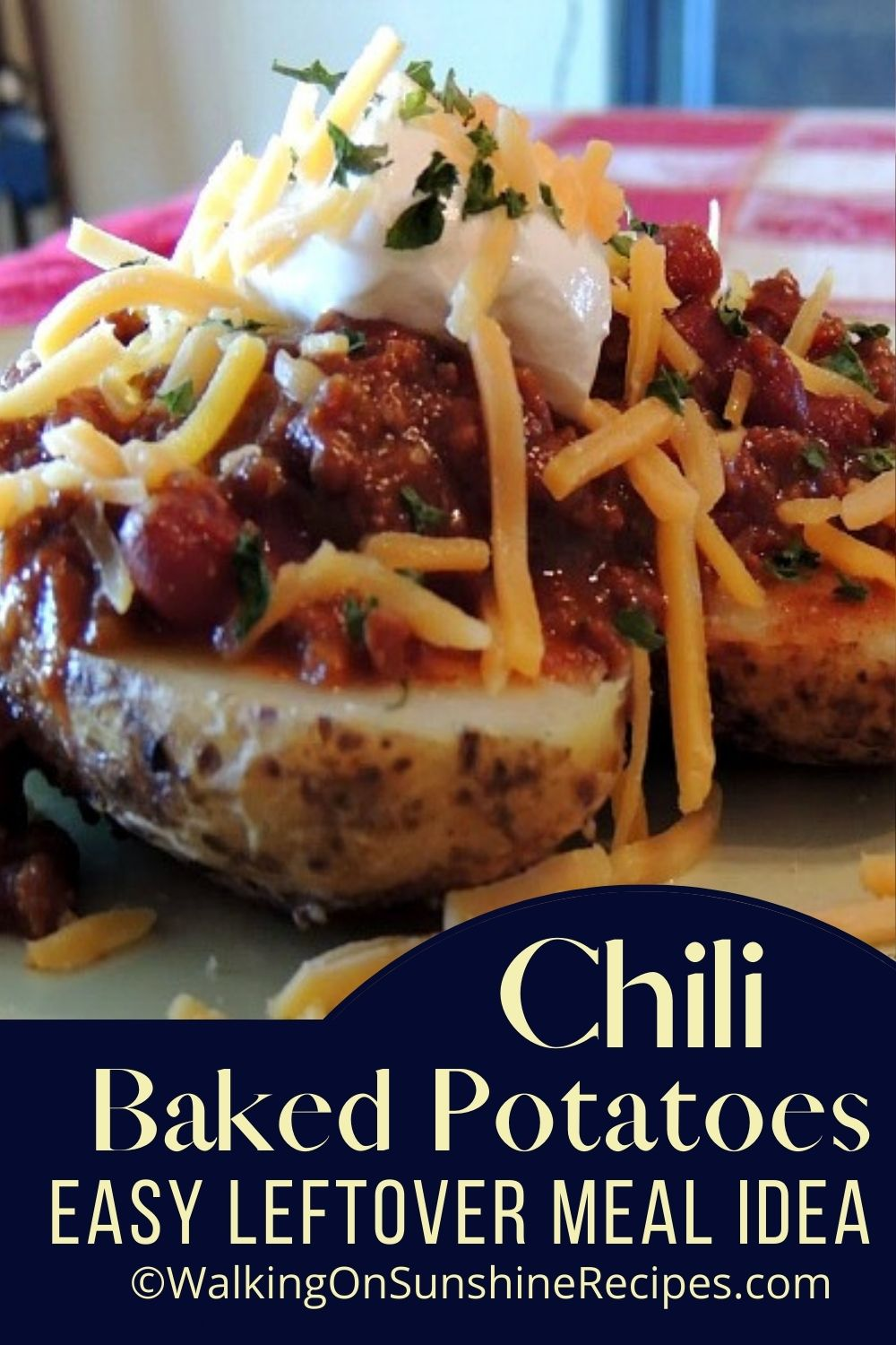 baked potatoes with leftover chili, salsa, cheese and sour cream.
