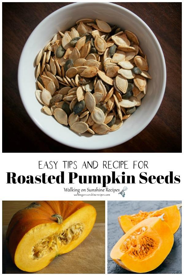 Roasted pumpkin seeds and pumpkins cut open.