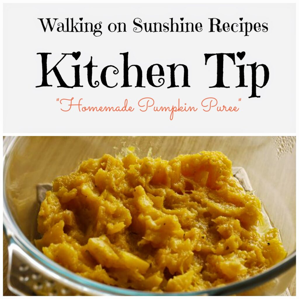 This week's Kitchen Tip on Walking on Sunshine Recipes is how to make your own pumpkin puree.