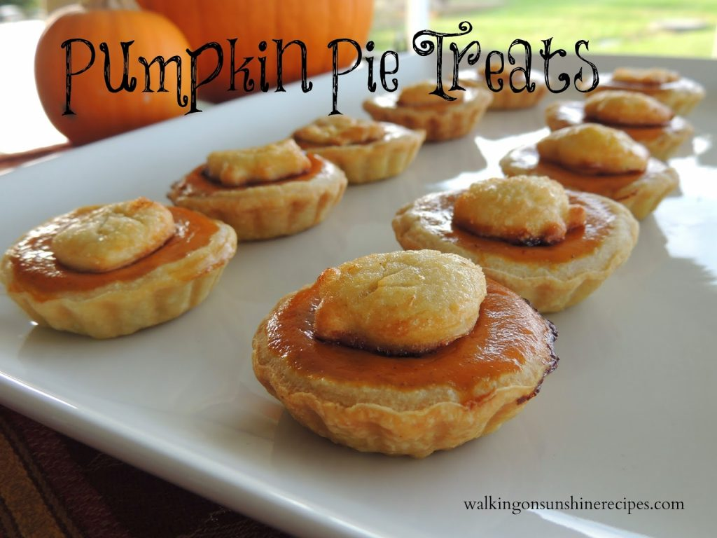 Create these cute pumpkin pie treats for your family and friends from Walking on Sunshine Recipes
