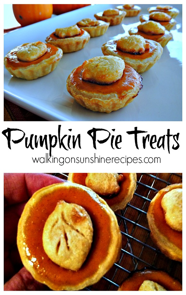 Mini Pumpkin Pie Treats make the perfect dessert for Thanksgiving or any fall gathering from Walking on Sunshine Recipes.