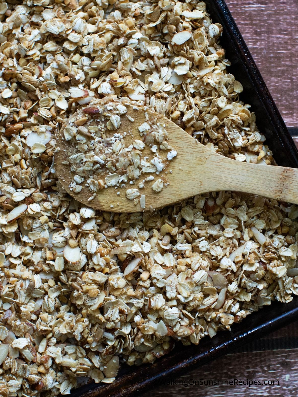 Granola on baking tray before baking.