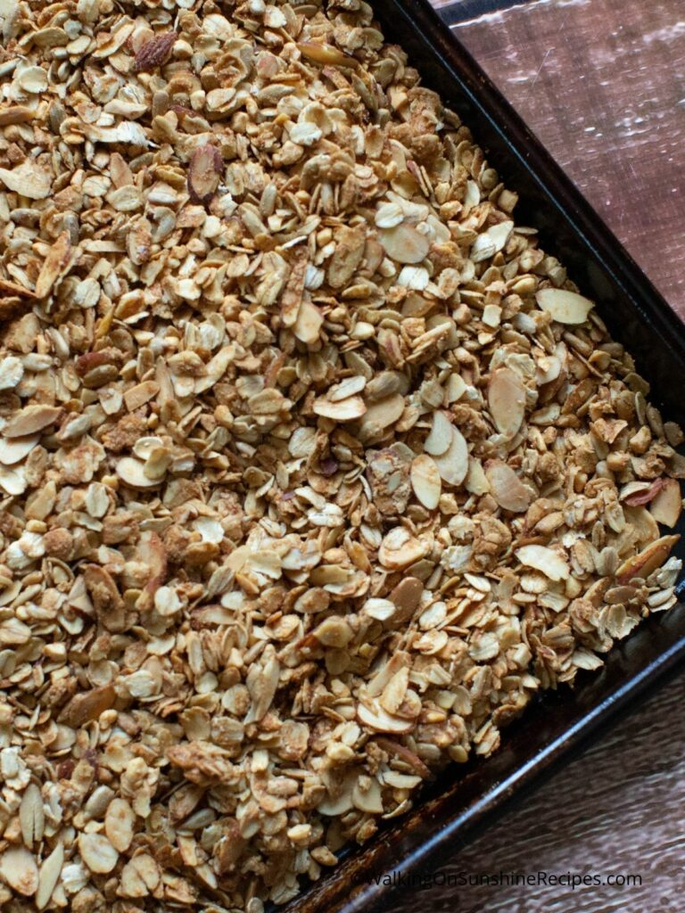 baked granola on a tray.