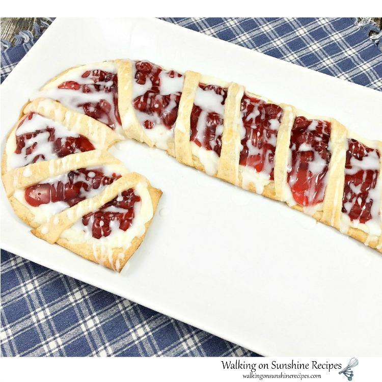 Candy Cane Cream Cheese Danish on white platter