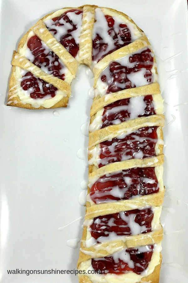 Candy Cane Cream Cheese Danish on white tray.