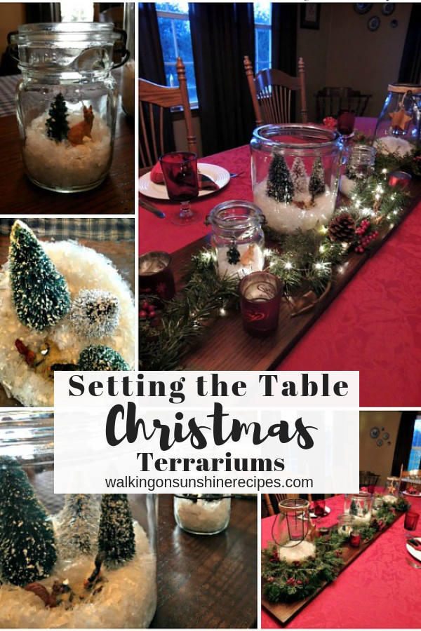 How to set the table using Christmas Terrariums filled with trees, snow and twinkle lights as the centerpiece.