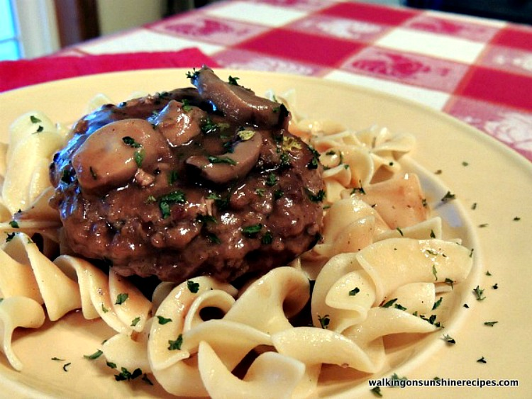 Hamburgers with Mushroom Gravy over buttered noodles from Walking on Sunshine Recipes