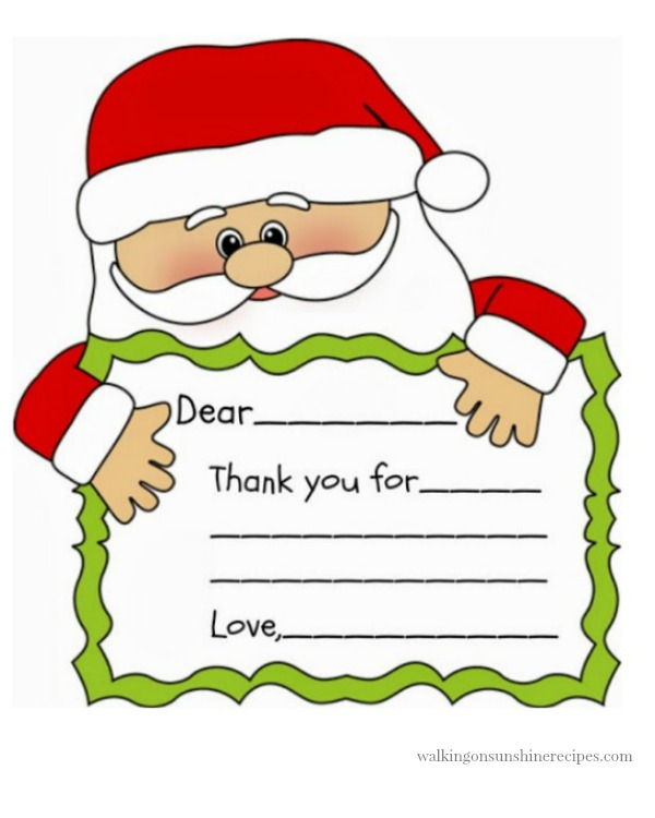 picture relating to Christmas Thank You Cards Printable Free named Santa Printable Thank Your self Observe Strolling Upon Sun Recipes