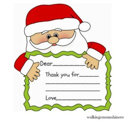 Santa Printable Thank You Note