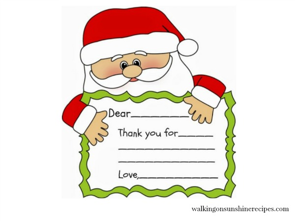 Holidays Santa Printable Thank You Note Walking On Sunshine Recipes