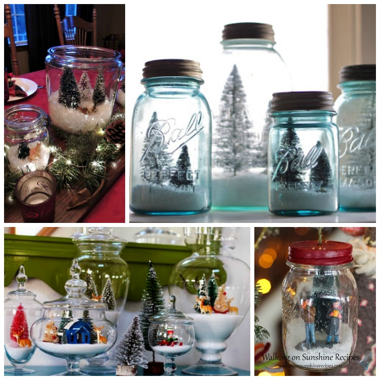 Mason Jars and Glass Jars decorated for Christmas