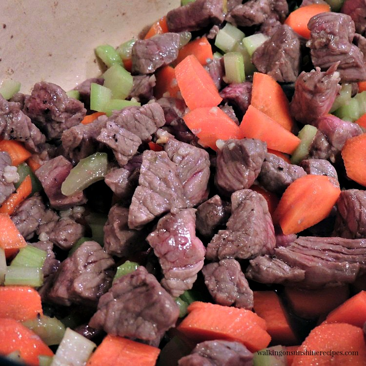 Beef and Vegetables Cooked for Beef Barley Soup from Walking on Sunshine Recipes