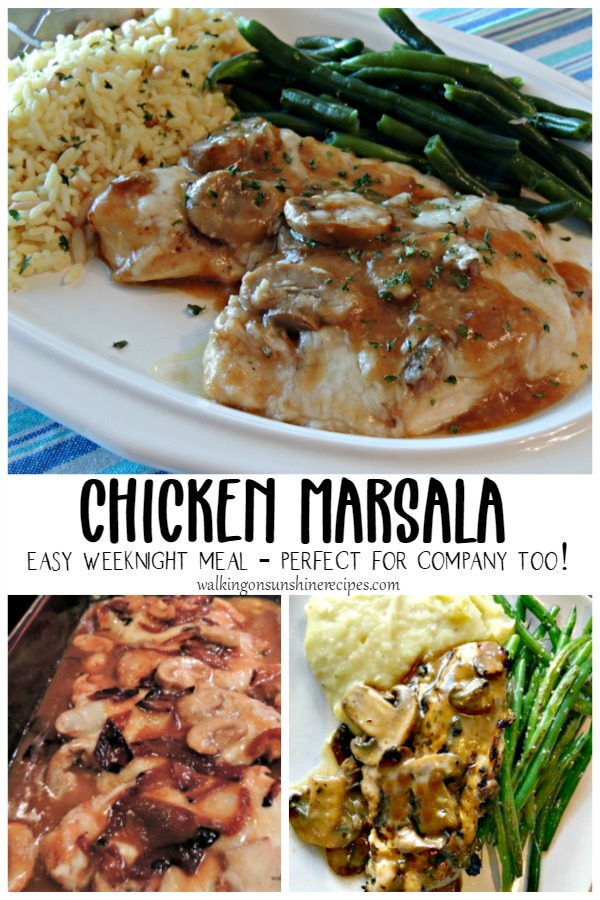 Chicken Marsala made with mushrooms, onions. Served with rice and green beans.