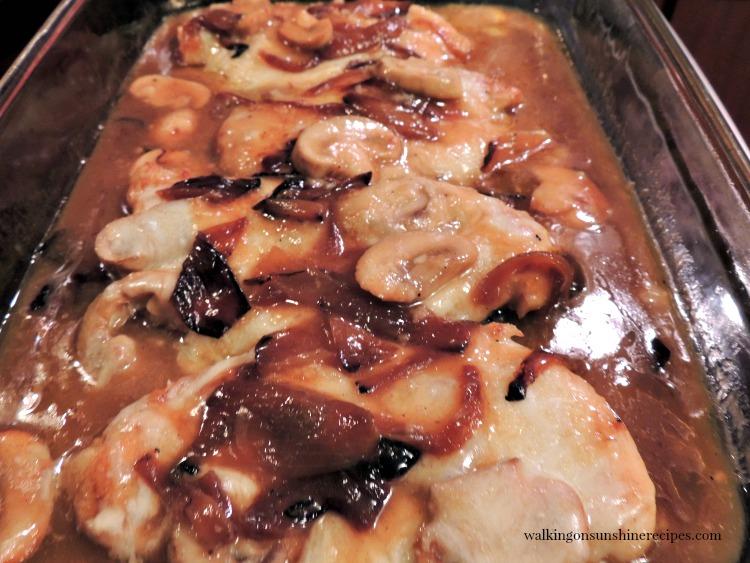 Chicken Marsala in baking dish