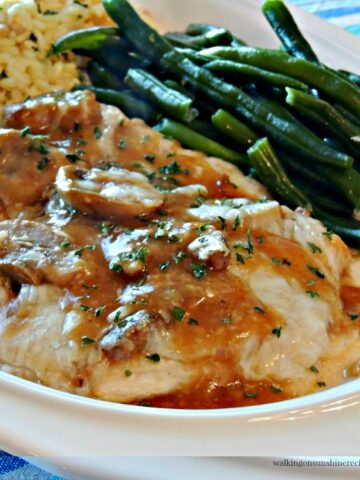 Chicken Marsala served with Rice Pilaf and Fresh Green Beans from WOS