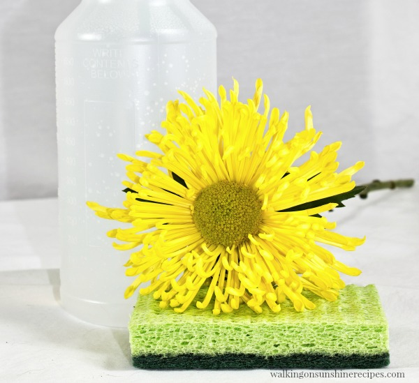 Spray Bottle with kitchen sponge and yellow flower