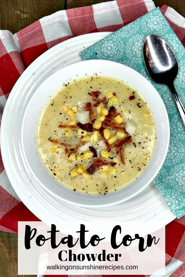 Potato and Corn Chowder made in the slow cooker.