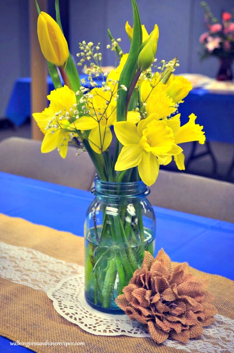 Yellow Daffodils and Tulips in Antique Mason Jar on Burlap Runner for Bridal Shower