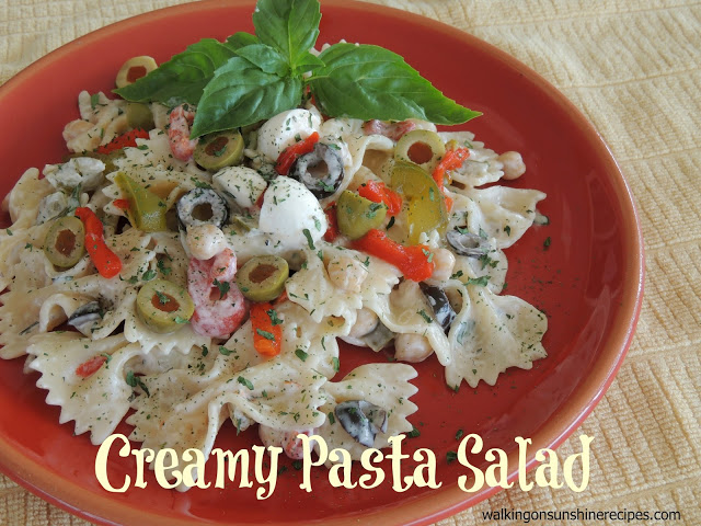 An easy recipe for creamy pasta salad from Walking on Sunshine Recipes.