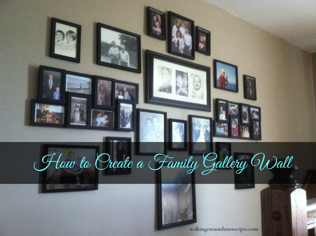 Some great ideas and tips on creating a family wall of photos for your house. Walking on Sunshine Recipes