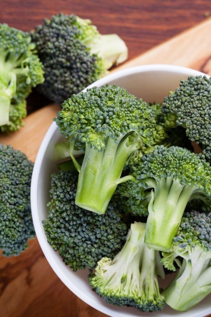 bowl of fresh cut broccoli.