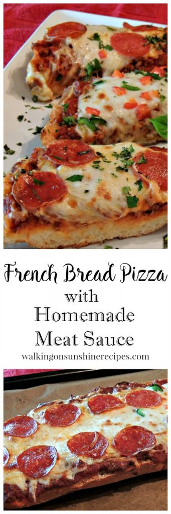 French Bread Pizza with Meat Sauce makes a great inexpensive quick meal from Walking on Sunshine Recipes.