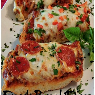 French Bread Pizza with Homemade Meat Sauce
