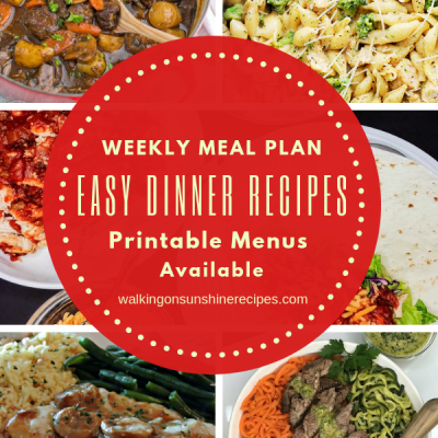 Weekly Meal Plan – Five Easy Dinner Recipes