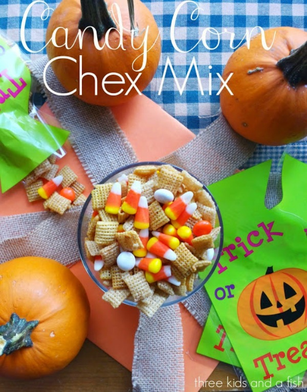 Candy Corn Chex Mix from Three Kids and a Fish