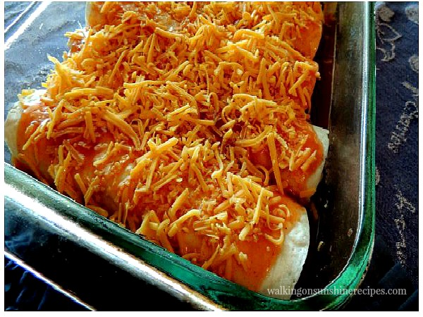 Chicken Enchiladas before cooking from Walking on Sunshine Recipes