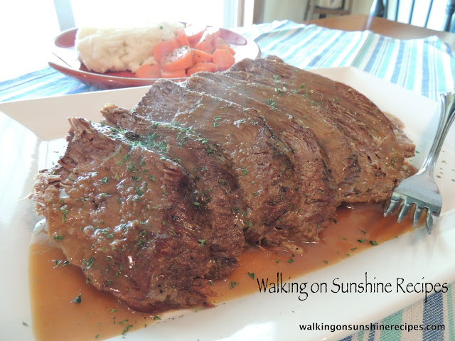 My mom's recipe for pot roast only made in the crock pot.  The meat comes out tender and juicy and you have dinner ready for you when you come home from a long day at work.