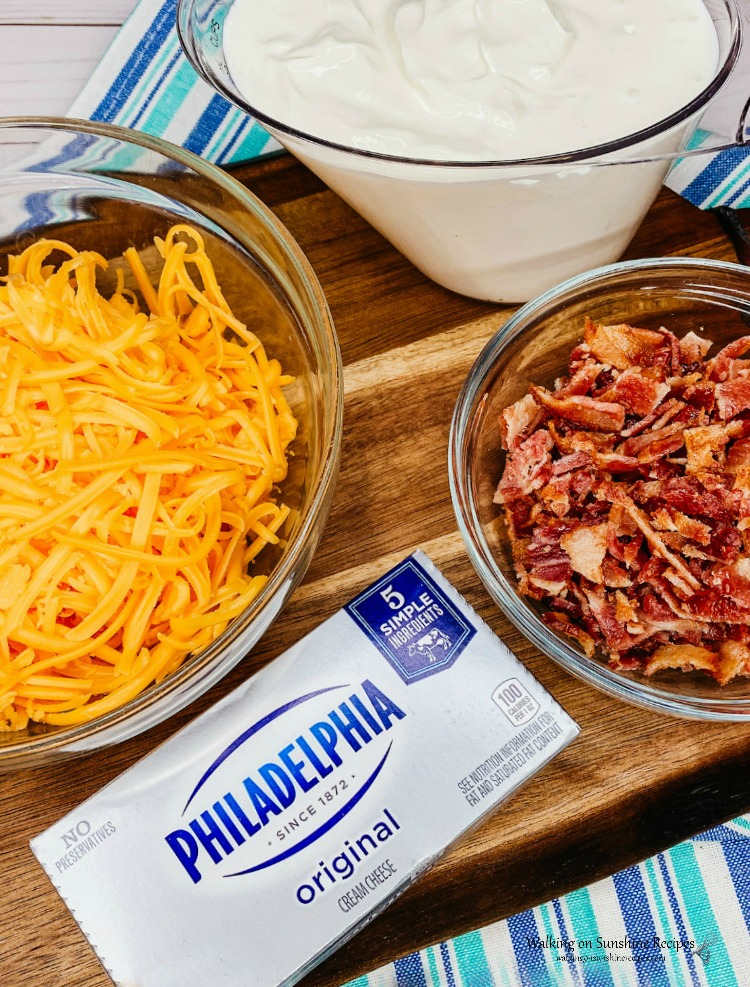 Ingredients to make a delicious warm bacon cheese dip.