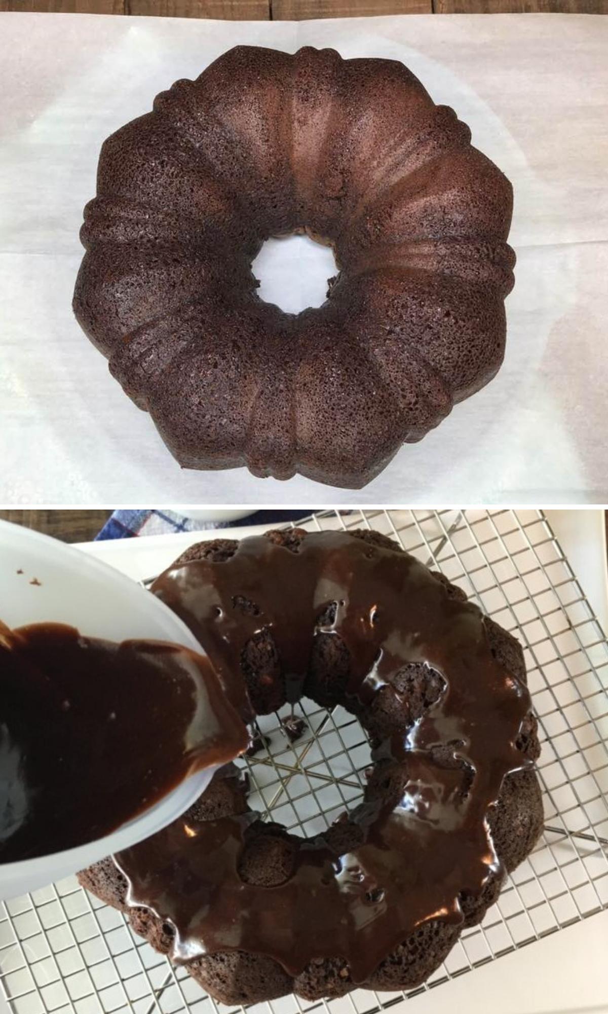 Chocolate cake and glaze.