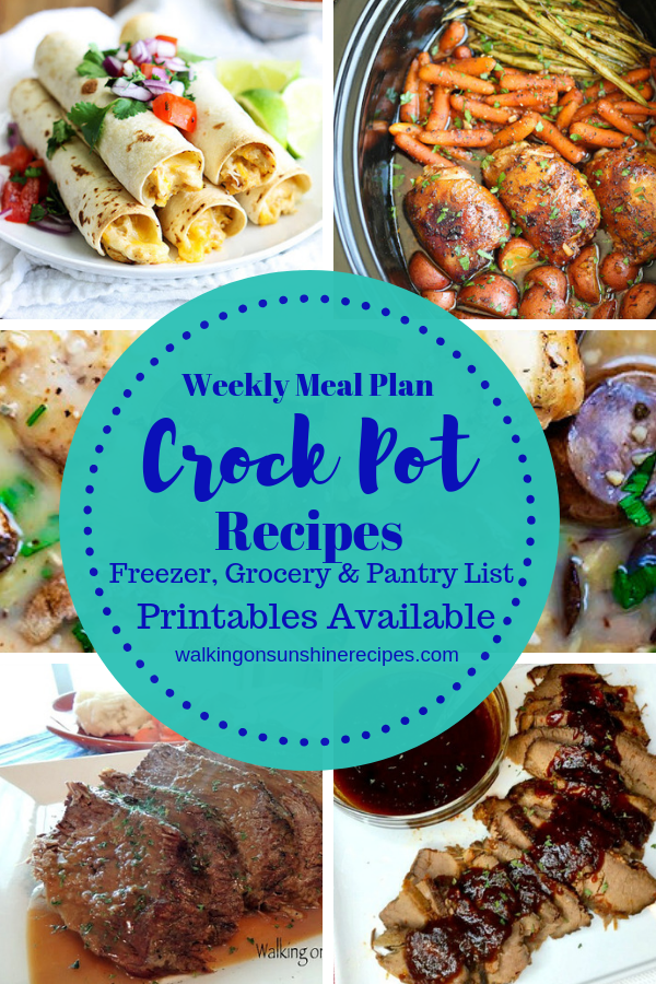 Crock Pot Recipes are featured as part of our Weekly Meal Plan