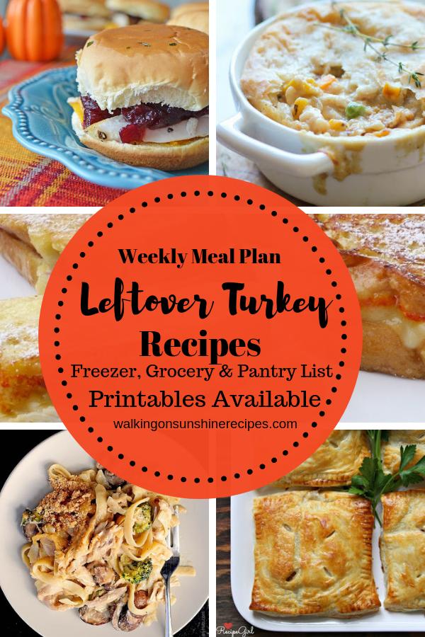 Turkey Leftovers Weekly Meal Plan