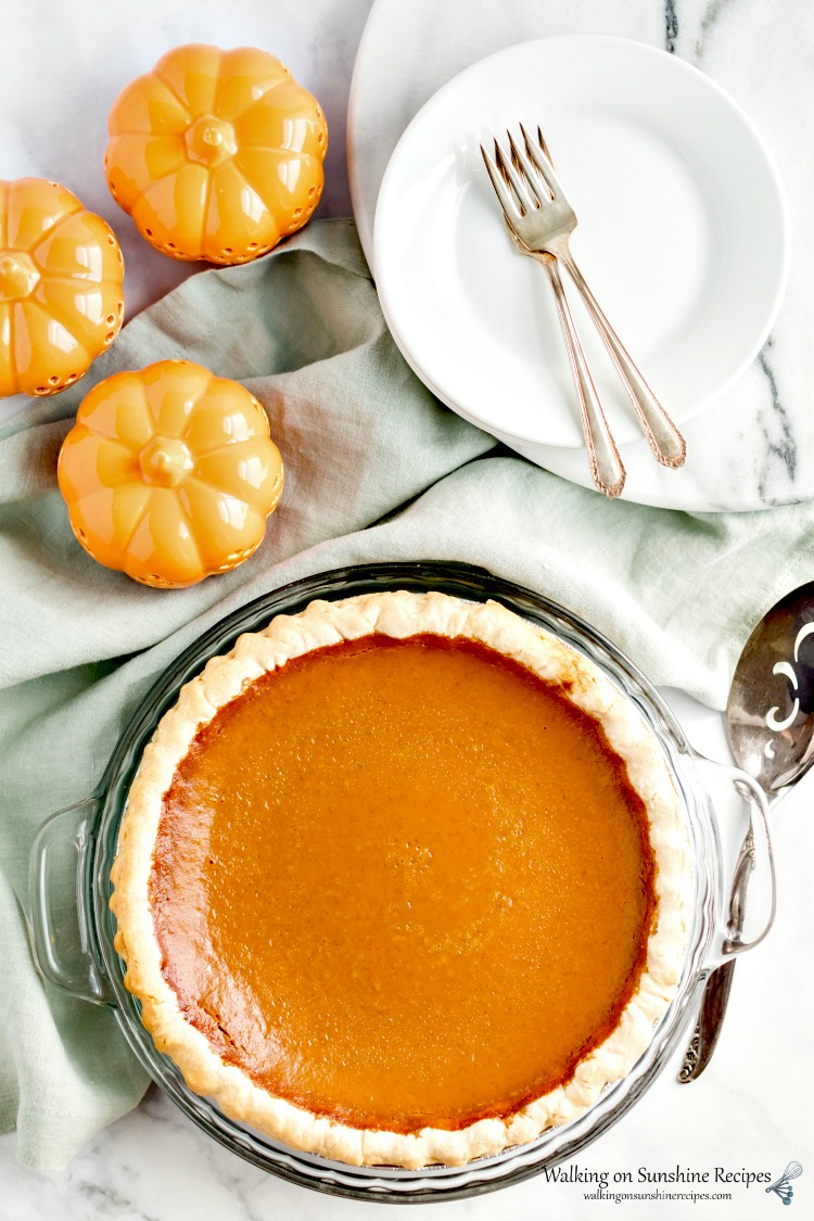 Pumpkin Pie baked from Walking on Sunshine Recipes