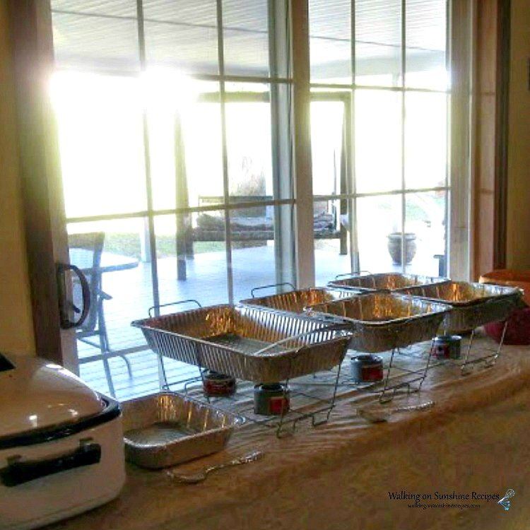 Thanksgiving Buffet set in the kitchen with electric roasting pan in the corner from WOS