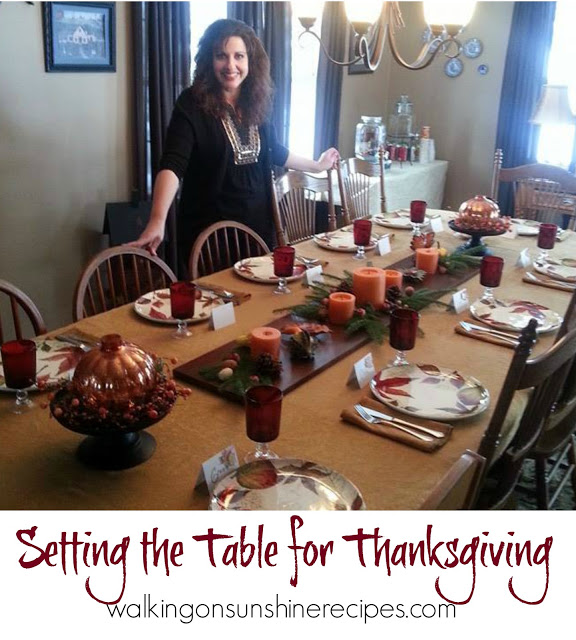 Setting the table for Thanksgiving is my favorite part of preparing for the day! Come get a few ideas to make your table really pretty for your family and guests this year from Walking on Sunshine Recipes.
