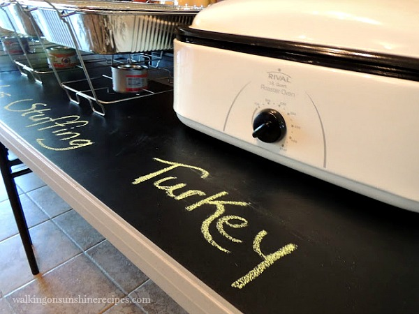 Chalkboard Buffet Project for Family Gatherings from Walking on Sunshine Recipes.